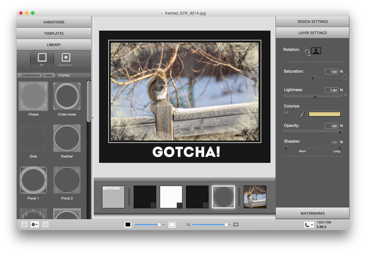 ImageFramer Squirrel final screenshot