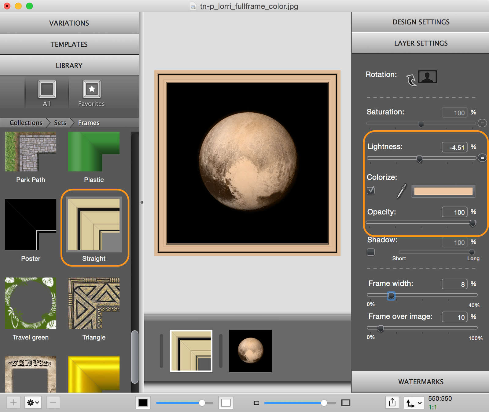 ImageFramer setting for Pluto frame