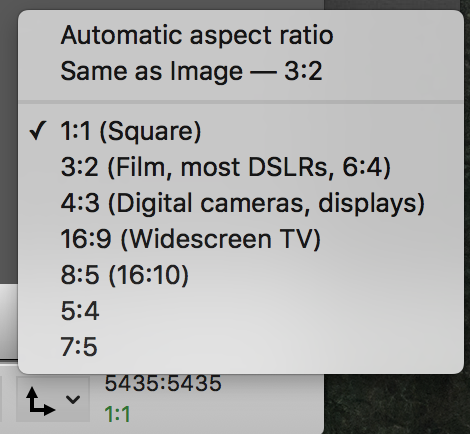 Aspect ratio drop down