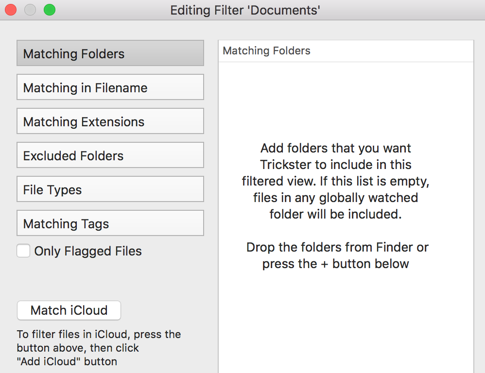 Trickster instructions in Filter panel