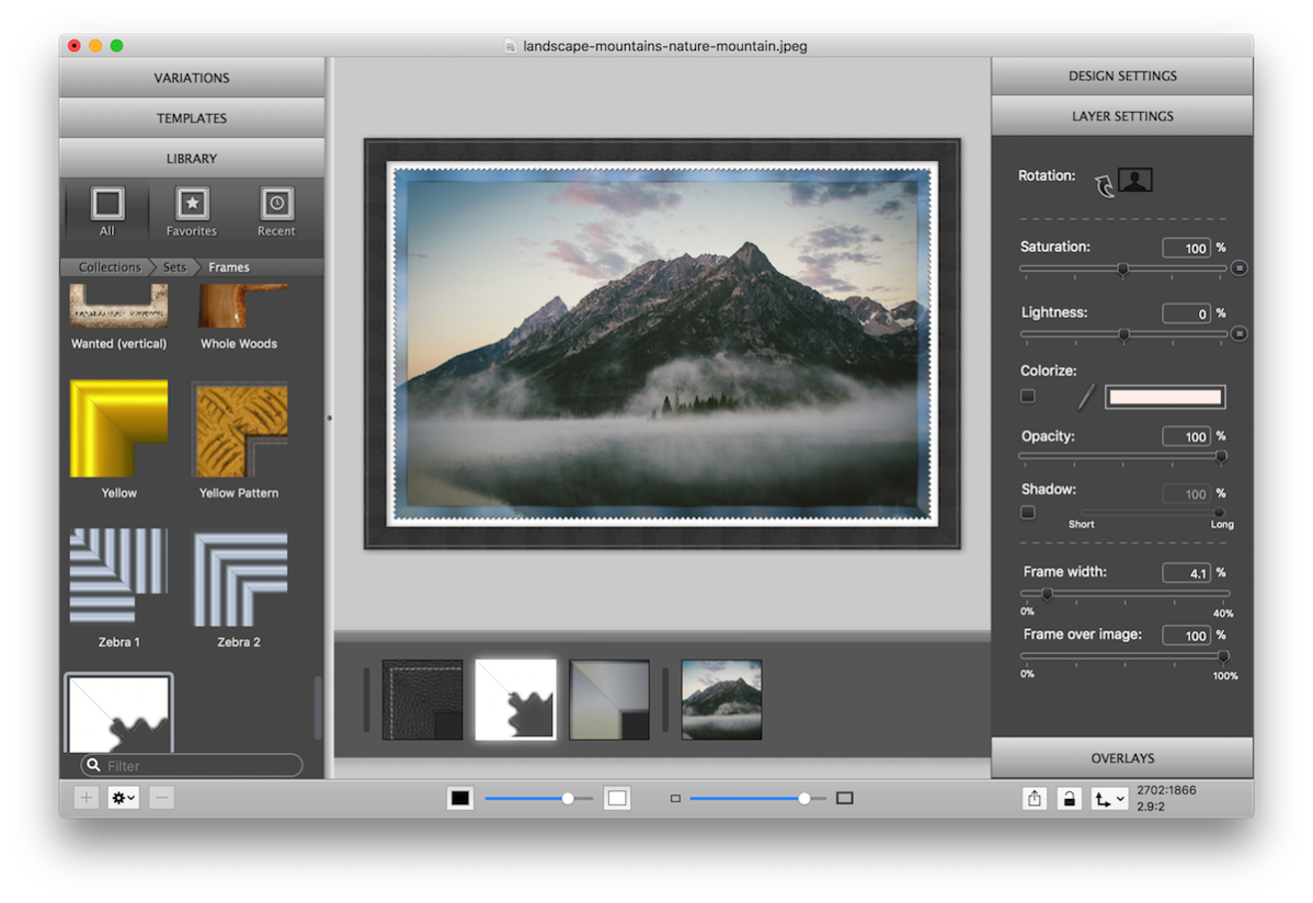 ImageFramer screenshot with glass paper leather frame