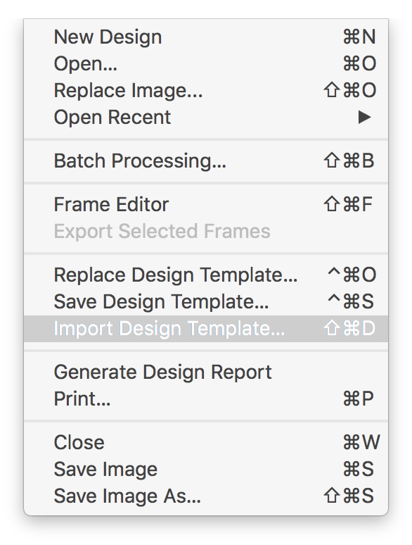 Import Design Template menu